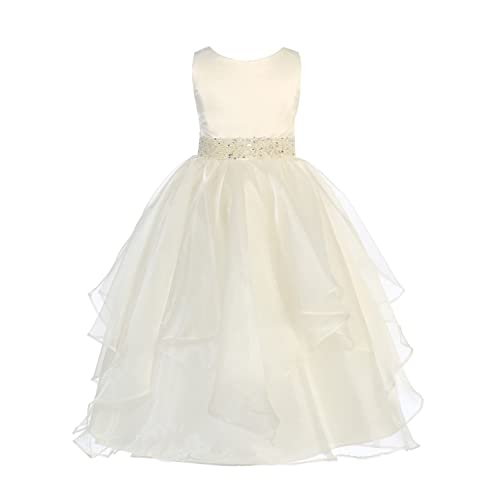 f5d9e2fb59f Chic Baby Girls Asymmetric Ruffles Satin Organza Flower Girl Dress