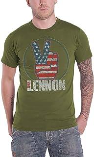 John Lennon T Shirt Peace Fingers Us Flag Logo Nouveau Officiel Homme