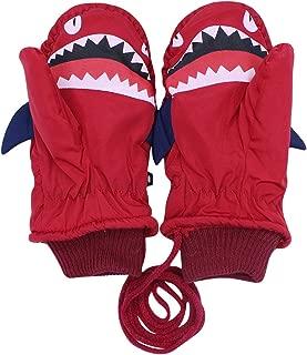 Kids Toddlers Winter Gloves Insulation Waterproof Cartoon Shark Ski Snowboard Gloves Fleece Lining Mittens for Boys Girls