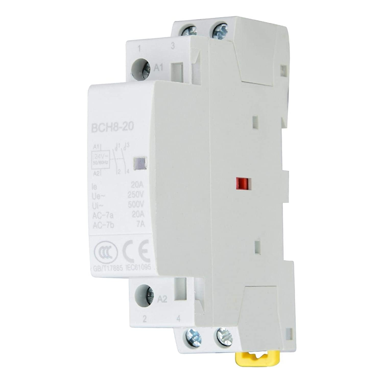 2P 20A 24V 220V/230V 50/60Hz Contactor de CA doméstico Montaje en riel DIN 1NO 1NC Reemplaza prácticamente todos los modelos residenciales Dos voltajes Ultra silencioso(220V/230V)