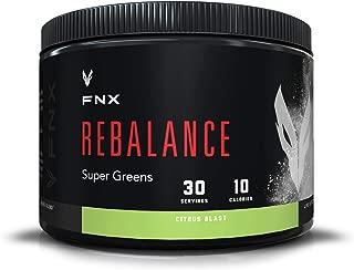 FNX Rebalance Organic Greens Powder Blend with Wheatgrass, Barley, Alfalfa, and Oat Grass, 17 Strain Digestive Enzyme Probiotic, 0g of Sugar, Citrus Blast