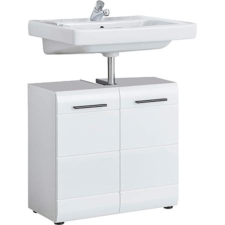 trendteam smart living Meuble Sous-Vasque pour Salle de Bain Skin Gloss, 60 x 56 x 31 cm en Blanc Brillant avec Découpe de Siphon