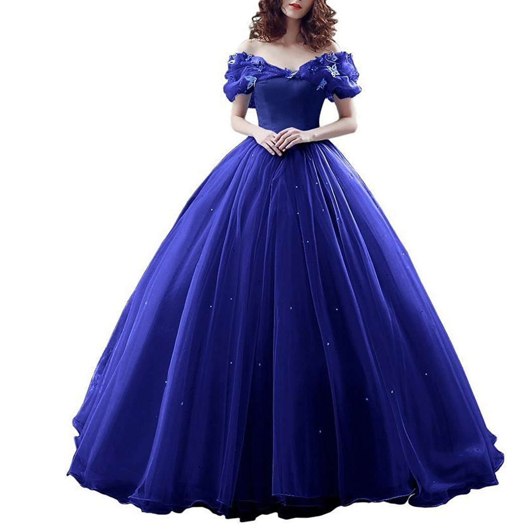 Available at Amazon: Lemai Women's Off Shoulder Cinderella Crystals Prom Quinceanera Dress Ball Gown