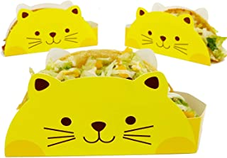 Cat Taco Holder, 50 Count, Great for Taco Tuesday, Birthday, Food Truck or Party Supplies - Disposable Food Safe Paperboard Taco Stand