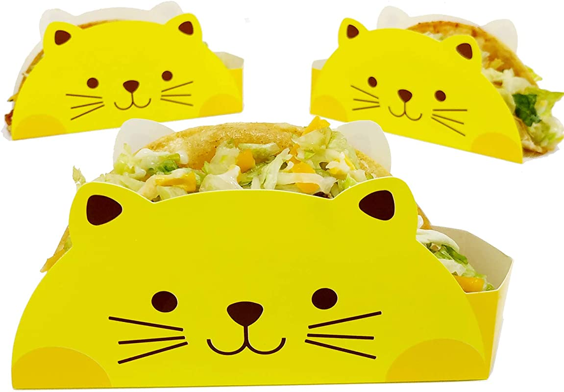 Cat Taco Holder By KitchNX Ideal For 6 Taco Shells 50 Count Great For Taco Tuesday Birthday Food Truck Or Party Supplies Disposable Coated Food Safe Paperboard