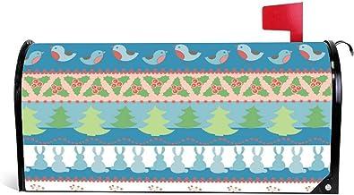 happygoluck1y Kerst Border Naadloze Patroon Brievenbus Cover Magnetische Seizoensgebonden Kerst Winter Mailbox Wrap Cover ...