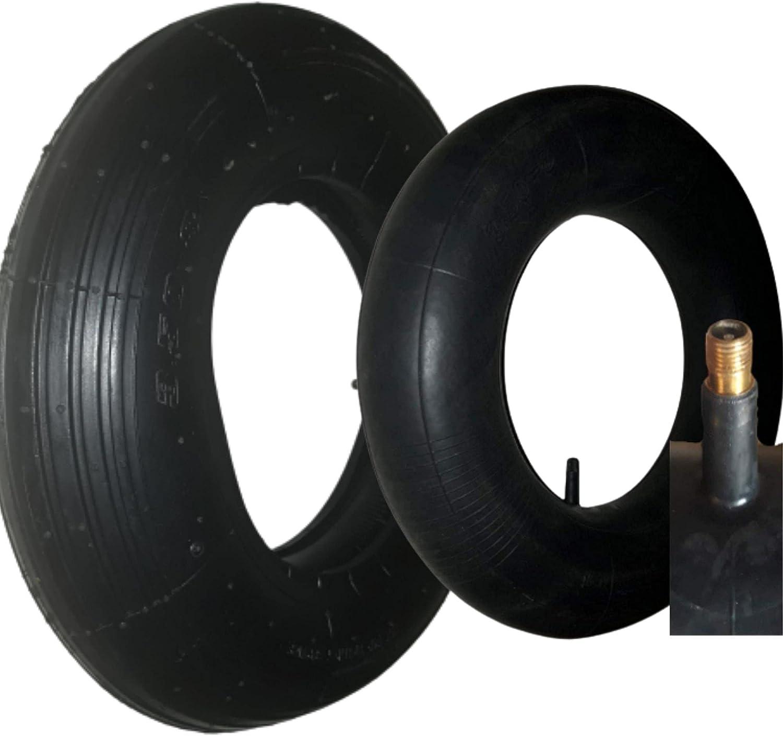 Oka] - Neumáticos + cámara de aire 3,50-8 para rueda de carretilla, remolque, tractor cortacésped, carretilla de carga hasta 150 kg. Válvula TR13 resistente