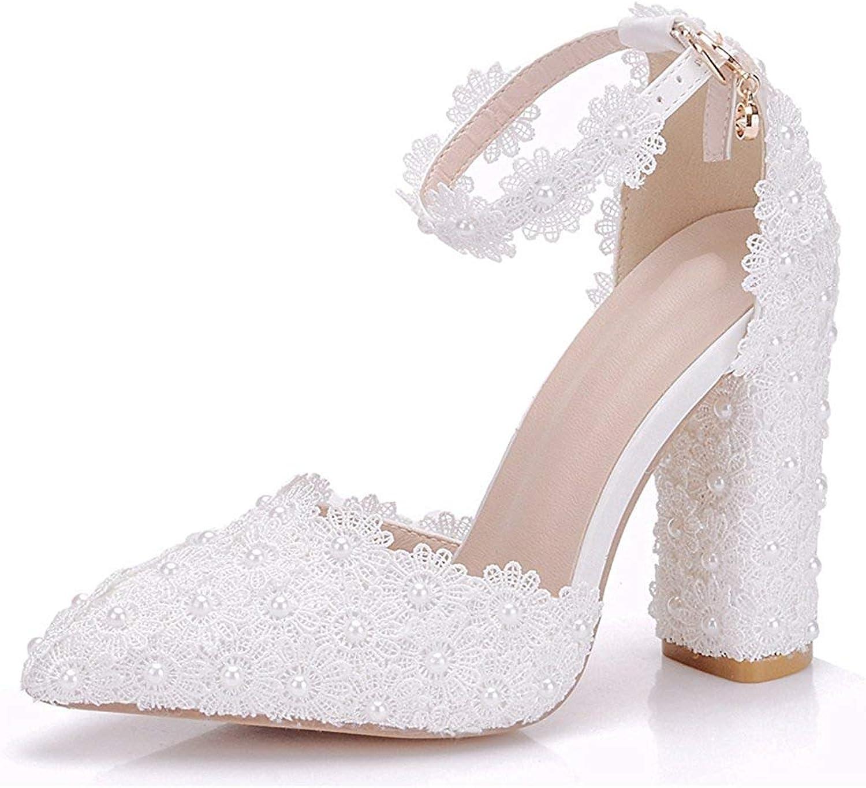 HhGold Frauen Spitze Blaumen besetzt Chunky High Heel Heel Heel Weiß Braut Hochzeit Schuhe UK 4 (Farbe   -, Größe   -)  0fdf24