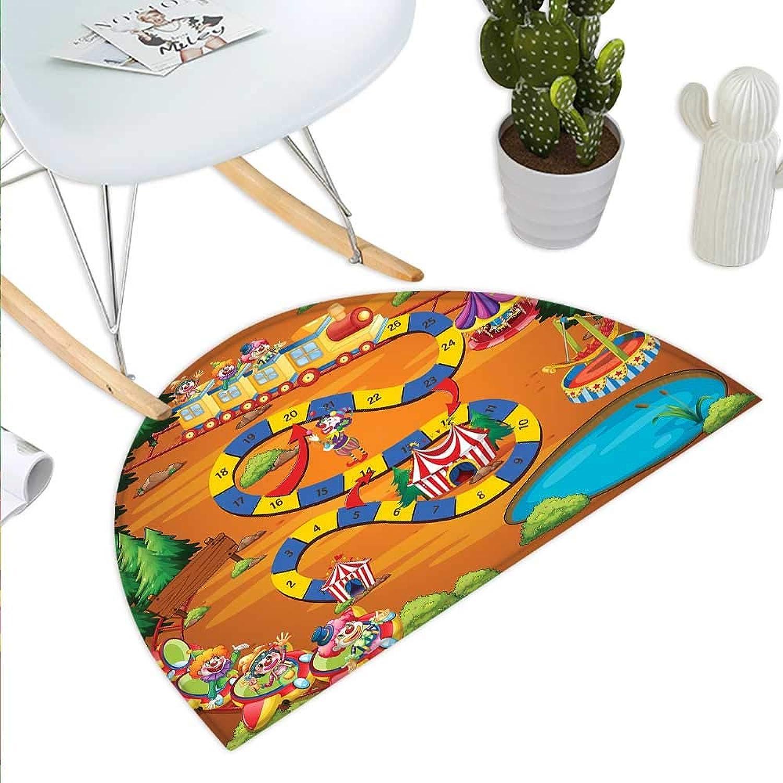 Kids Activity Semicircle Doormat Helping The Lost Clowns Circus Themed colorful Cartoon Amusement Park Design Halfmoon doormats H 35.4  xD 53.1  Multicolor