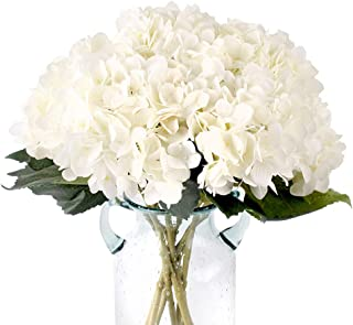 Jyi Hope Artificial Hydrangea White Silk Flowers Fake Flowers Bouquet 3Pcs Faux Hydrangea with Stems for Home Wedding Party Table Centerpiece Decoration (White)
