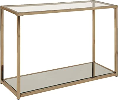 Benjara Glass Top Sofa Table with Metal Frame and Open Shelf, Brass and Clear