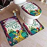 XCNGG Juego de alfombras de Tres Piezas Bath Mats 19.5x31.5in Bathtub Mats Set 3 Piece Wizard OZ Bathroom Antiskid Pad Memory Foam Toilet Rug (Rectangular Carpet+UShaped Floor Mat+OShaped Lid Cover)