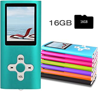 """RHDTShop MP3 MP4 Player with a 16 GB Micro SD Card, Support UP to 32GB TF Card, Portable Digital Music Player/Video/Media Player/FM Radio/E-Book Reader, Ultra Slim 1.7"""" LCD Screen, Blue"""