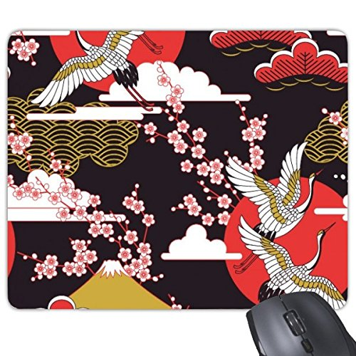 DIYthinker Japan Kultur Japanische Art Cranes Fuji Sakura Wolke Sun Repeat Illustration Muster Rechteck Griffige Gummi Mousepad Spiel-Mausunterlage