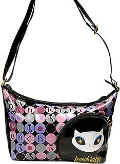 International Connection French Kitty Handtasche aus bedrucktem schwarzen PVC
