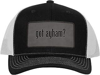 One Legging it Around got ayham? - Leather Grey Patch Engraved Trucker Hat