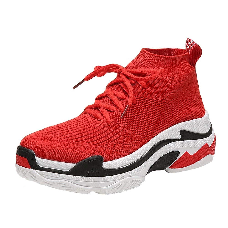 ランニングシューズ スニーカー レディース メンズ ジョギングシューズ 運動靴 軽量 防水 通学靴 [春の屋] 女性のストレッチ編み通気性のカジュアルな厚いボトムソックスシューズスニーカーブーツ