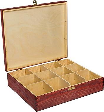 Creative Deco Boîte à Thé Sachets en Bois à Décorer Rouge | 12 Compartiments | 29 x 25 x 7,5 cm | Plusieurs Tailles Disponibl