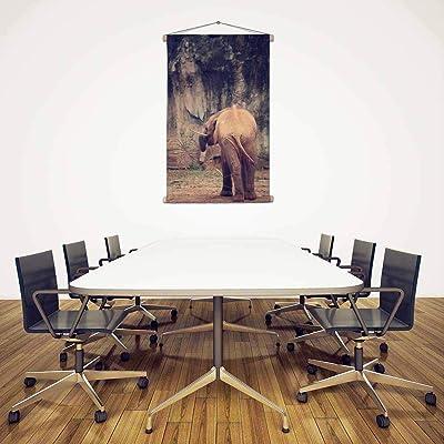 ArtzFolio Baby Elephant Silk Fabric Painting Tapestry Scroll Art Hanging 24inch x 36.1inch (61cms x 91.6cms)