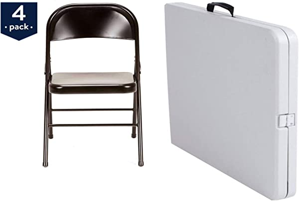 Mainstay Steel Folding Chair 4 Pack In Black Bundle 5 Foot Centerfold Folding Table In White
