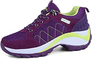 WEONEDREAM Lightweight Breathable Thick Heel (5cm) Women Shoes Running Lace up Heels Black Purple Grey for Hiking Camping Climbing Running Walking