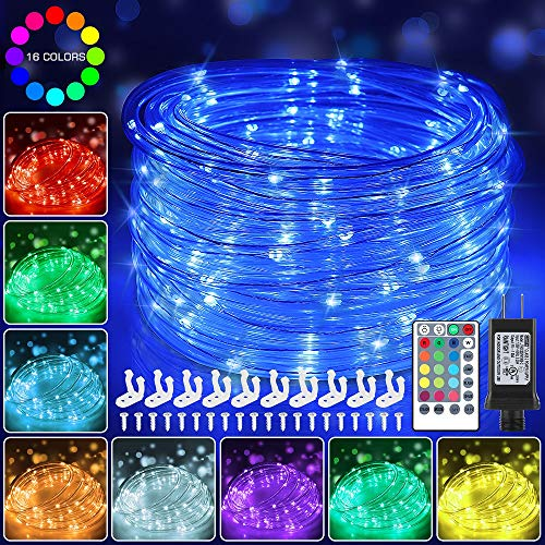 120 LED Rope Lights Plug in, 40ft 16 Colors Changing Outdoor String Lights...