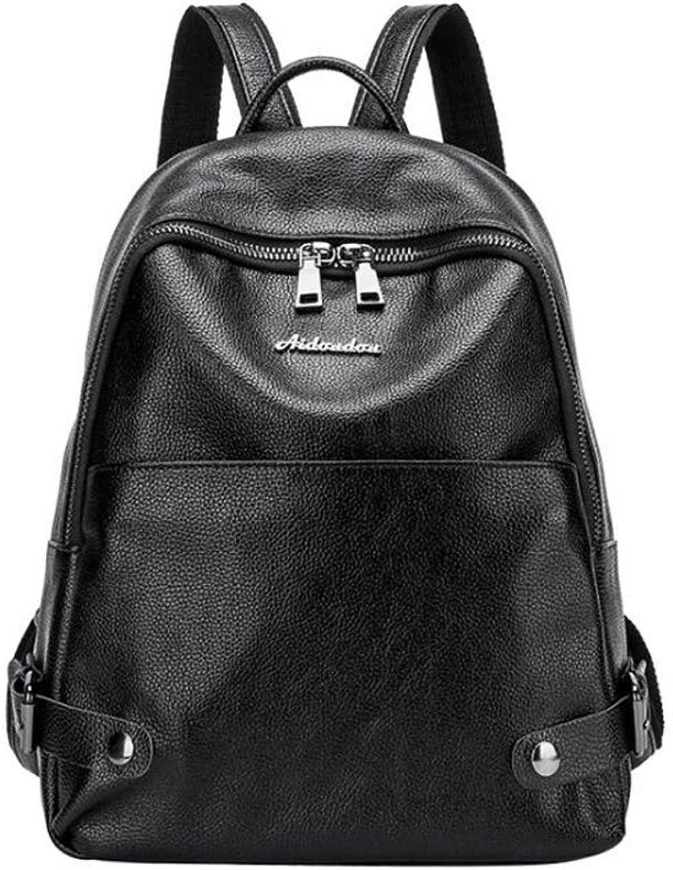 Women's Backpack, Women's Bag Leather Portable Women's Backpack Fashion Casual Waterproof Shoulder Bag Ladies Handbag (color   A, Size   34  30  12cm)