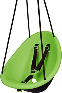 Swurfer Kiwi - Your Baby's First Swing with Ergonomic Foam-Lined Shell Design, Blister Free Rope and 3-Point Safety Harness, Ages 6 Months and Up (Green)