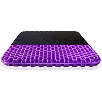 Gel Seat Cushion - Purple Enhanced Double Non-Slip Seat Cushion for Tailbone Pain Relief - Seat Cushion for The Car Or Office Chair - Sciatica & Back Pain Relief
