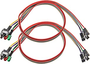 2 Pack Computer Case ATX Power On Off Reset Switch Cable with 2 x LED Light Light Red Green 27-inch ATX Case Front Bezel Wire