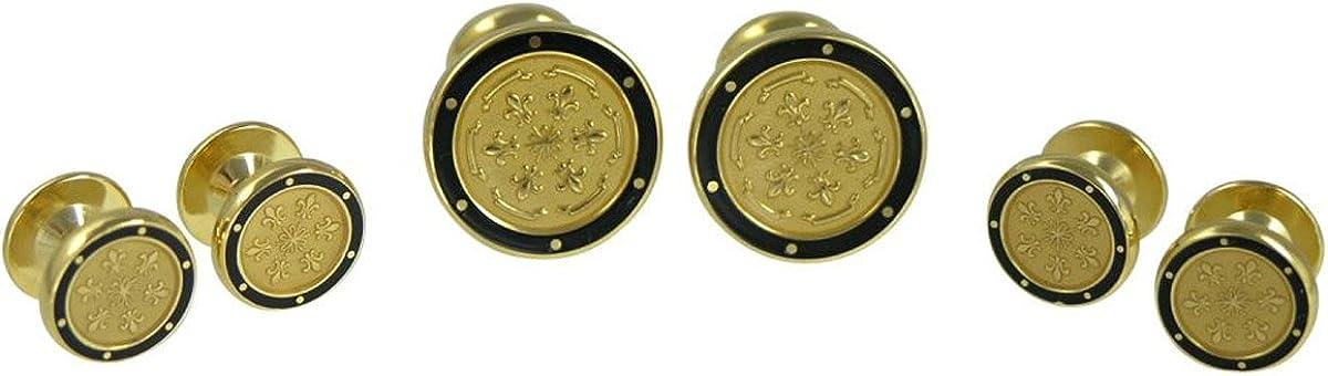 Round Black and Goldtone Paisley Shirt Stud Set