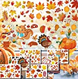 CheChury Herbst Blatt Fensterbilder Erntedankfest Fensteraufkleber ohne Kleber Thanksgiving Fensterdeko Fenster Aufkleber Ahornblätter Deko für Party Dekorationen