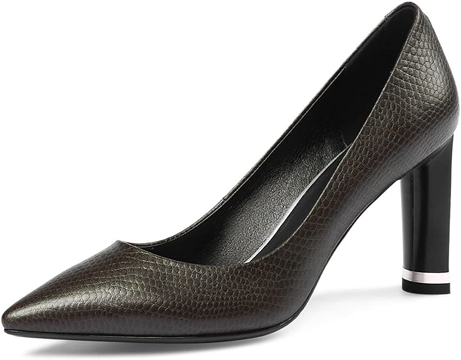 York Zhu Women Pumps, Casual Black Slip-on Pointed Toe Square Heel Office shoes