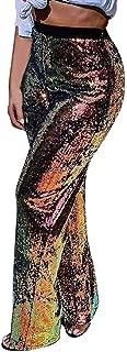 Womens Shiny Sequins Wide Leg Pants Nightclub Straight High Waisted Metallic Palazzo Pants