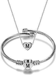 NIBASTAR Heart Jewelry Set Stainless Steel Necklace Bracelet for Women Girls