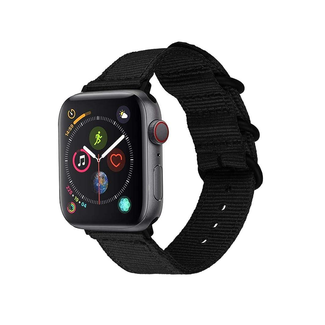 作物磁石商人ONTUBE バンド適応 Apple Watch,編みナイロン 時計バンド 交換ベルト適応 Apple Watch Series 5/4/3/2/1 (42mm/44mm, 黒)
