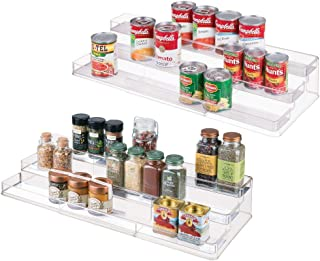 mDesign Large Plastic Adjustable, Expandable Kitchen Cabinet, Pantry, Shelf Organizer/Spice Rack with 3 Tiered Levels of Storage for Spice Bottles, Jars, Seasonings, Baking Supplies - 2 Pack - Clear