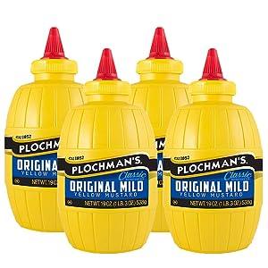 Plochman's Original Mild Classic Yellow Mustard, 19 Oz (4 Pack)
