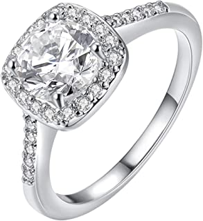 Cutesmile Fashion Jewelry 925 Sterling Silver CZ Crystal Square Rings Wedding Rings for Women (5)