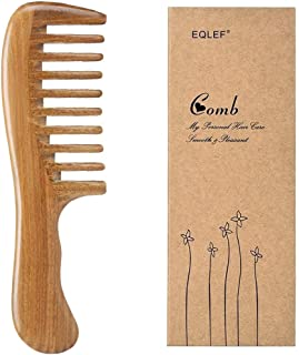 verde de madera de sándalo de dientes anchos sin peine hecho a mano estática, la calidad del peine de madera rizos