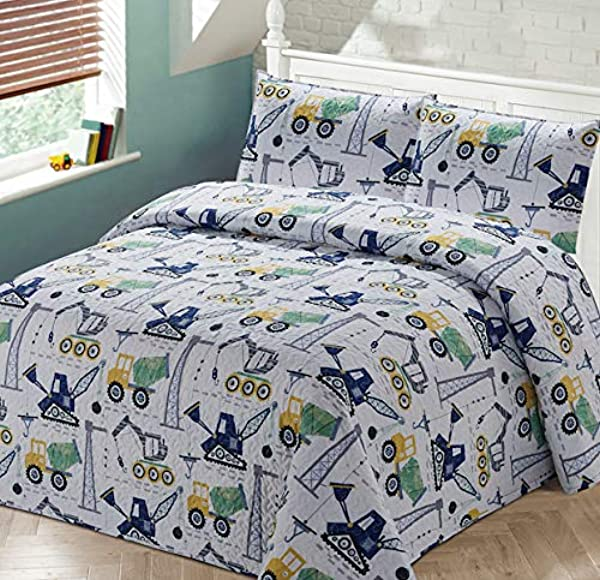 Luxury Home Collection 2 Piece Twin Size Quilt Coverlet Bedspread Bedding Set For Kids Teens Construction Equipment Trucks Crane Cement Mixer Bulldozer Navy Blue White Gray Yellow Green Twin Size