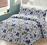 Luxury Home Collection 3 Piece Full/Queen Size Quilt Coverlet Bedspread Bedding Set for Kids Teens Construction Equipment Trucks Crane Cement Mixer Bulldozer Navy Blue White Gray Yellow Green