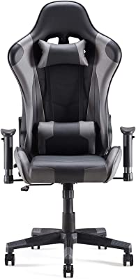 Sunon Massage Gaming Chair with Headrest and Lumbar Support Flexible Armrest Adjustable Seat Height Ergonomic Chair PVC Leather Computer Chair for Home(Large Size,Black & Gray)
