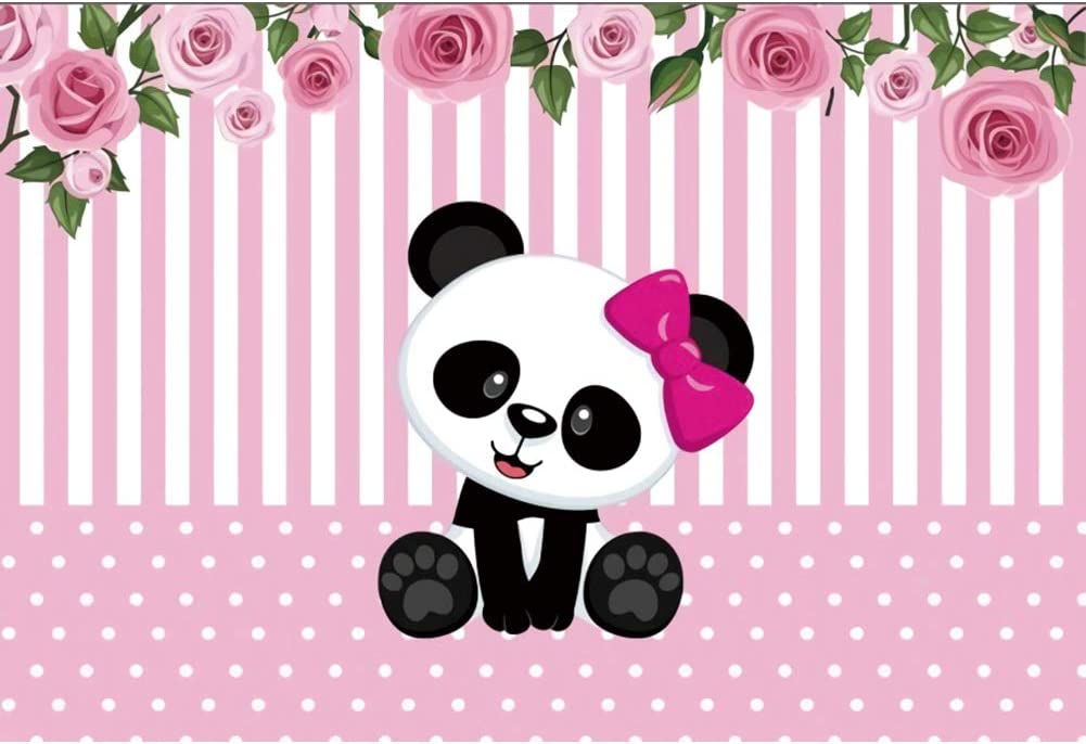 HD Background 7x5ft Rainbow Backdrop Cute Panda Pink Photography Background Baby Shower Dessert Table Favor Supplies Cotton Backdrop Photo Studio Props EAYF045