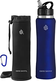 SWIG SAVVY Stainless Steel Water Bottle with Straw Lid | BPA-Free Vacuum Insulated Double Walls Wide Mouth Design | Reusab...