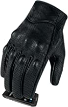 Full finger Goat Skin Leather Touch Screen Motorcycle Gloves Men/Women S,M,L,XL,XXL (Perforated, XL)