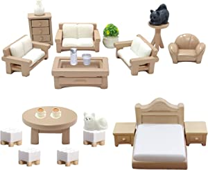 BANBALLON 23 Pieces Dollhouse Mini Furniture Decoration Set DIY Accessories Including Dining Room Sitting Living Bedroom Toys for Baby Children Girls