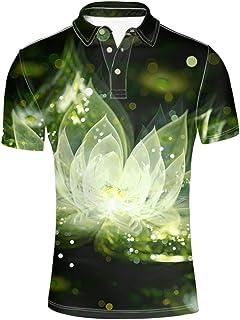 HUGS IDEA Summer Hawaiian Men's Short Sleevee Pique Polos T-Shirts