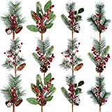Tatuo Artificial Pine Tree Branches Christmas Pin Picks 13.8 Inches with Pine Cones Red Berry Flower Ornaments in 6 Styles for Xmas Wreaths Home Vase Decor (6)
