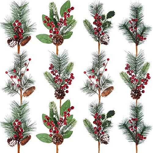 Künstliche Kiefer Zweige Weihnachten Pin Picks 13,8 Zoll mit Tannenzapfen Rote Beere Blumenornamente in 6 Arten für Weihnachtskränze Home Vase Deko (12 Stücke)